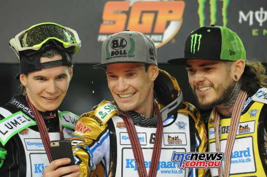 Doyle Speedway GP Champion, with Dudek and Woffinden - Image by Colin Rosewarne