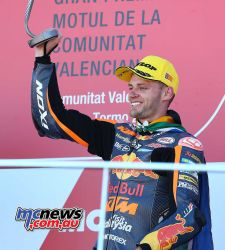 Brad Binder on the podium at Valencia - Image by AJRN