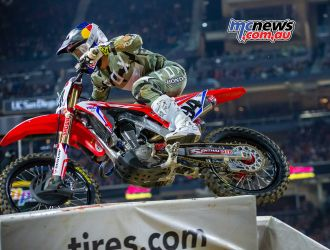 Ken Roczen in action at San Diego before the sickening crash with Cooper Webb
