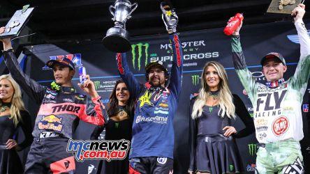 AMA Supercross 2018 - Round Six - San Diego - 450 SX Main Jason Anderson - Husqvarna Marvin Musquin - KTM Blake Baggett - KTM