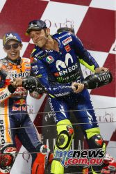 Valentino Rossi stood on the podium alongside second placed Marquez at the Qatar season opener which was won by Ducati's Andrea Dovizioso - Image by AJRN