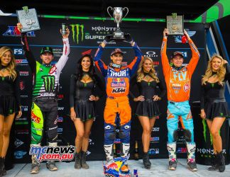 AMA Supercross 2018 - Round 16 - Salt Lake City - 450 Results Marvin Musquin - KTM Eli Tomac - Kawasaki Blake Baggett - KTM