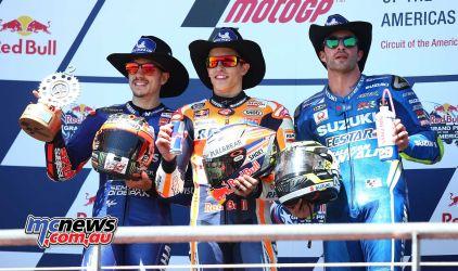 Circuit of the Americas MotoGP – Round 3 – Race Results Marc MARQUEZ – SPA – Repsol Honda Team 41'52.002 Maverick VIÑALES – SPA – Movistar Yamaha MotoGP +3.560 Andrea IANNONE – ITA – Team SUZUKI ECSTAR +6.704