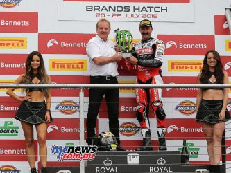BSB Brands Hatch Josh Brookes Monster King of Brands receiving the trophy ImageDYeomans