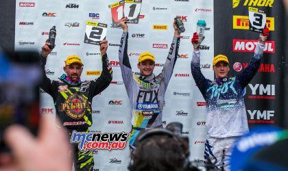 MX Nationals Rnd Conondale MX Race Winners Podium Ferris Metcalfe ImageByScottya
