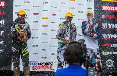MX Nationals Rnd Conondale MX Race Winners Podium Spray ImageByScottya
