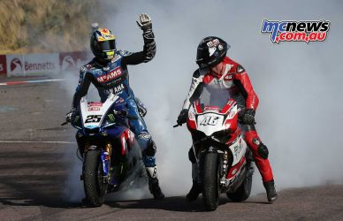 BSB Rnd Thruxton Josh Brookes Winner and Tommy Bridewell joint burnout Image DYeomans