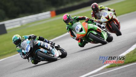 BSB Showdown Oulton Park Alastair Seeley leading Ben Currie ImageDyeomans