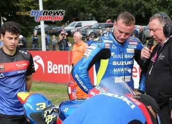 BSB Showdown Oulton Park Billy McConnell being interviewed by track commentator ImageDyeomans