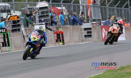 BSB Showdown Oulton Park Billy McConnell leads Taylor MacKenzie ImageDyeomans