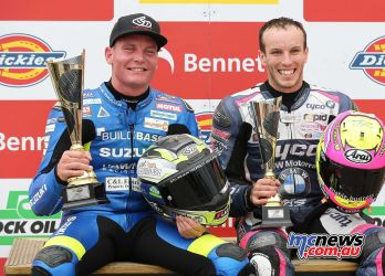 BSB Showdown Oulton Park Billy McConnell with Keith Farmer Podium ImageDyeomans