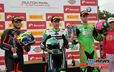 BSB Showdown Oulton Park Supersport Podium Seeley Currie and Owens ImageDyeomans