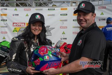 ASBK Rnd Morgan Park RbMotoLens Laura BROWN fastest Female Helmet winner