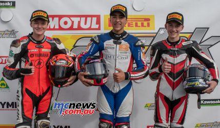 ASBK Rnd Morgan Park RbMotoLens SS Race Podium Max STAUFFER Senna AGIUS Harrison VOIGHT