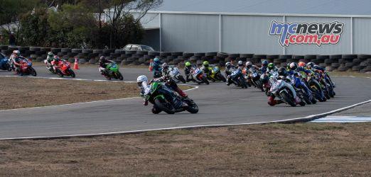 ASBK Rnd Morgan Park RbMotoLens SS Race Second Corner Senna AGIUS Leads Field