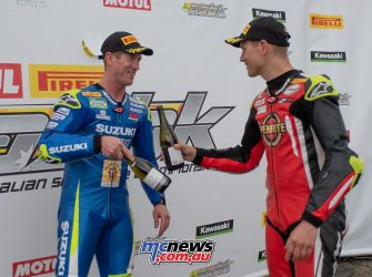 ASBK Rnd Winton RbMotoLens SBK R rd Parc Ferme Wayne Maxwell Troy Herfoss Champagne cheers