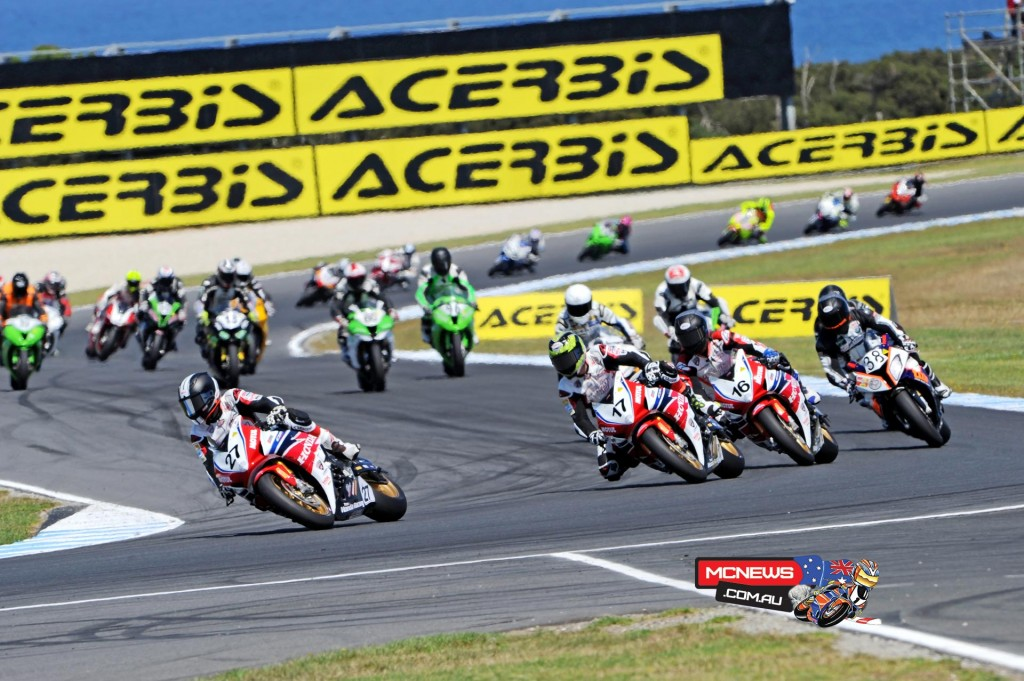 Jamie Stauffer leads Troy Herfoss, Josh Hook and Linden Magee at Phillip Island during the WSBK meeting