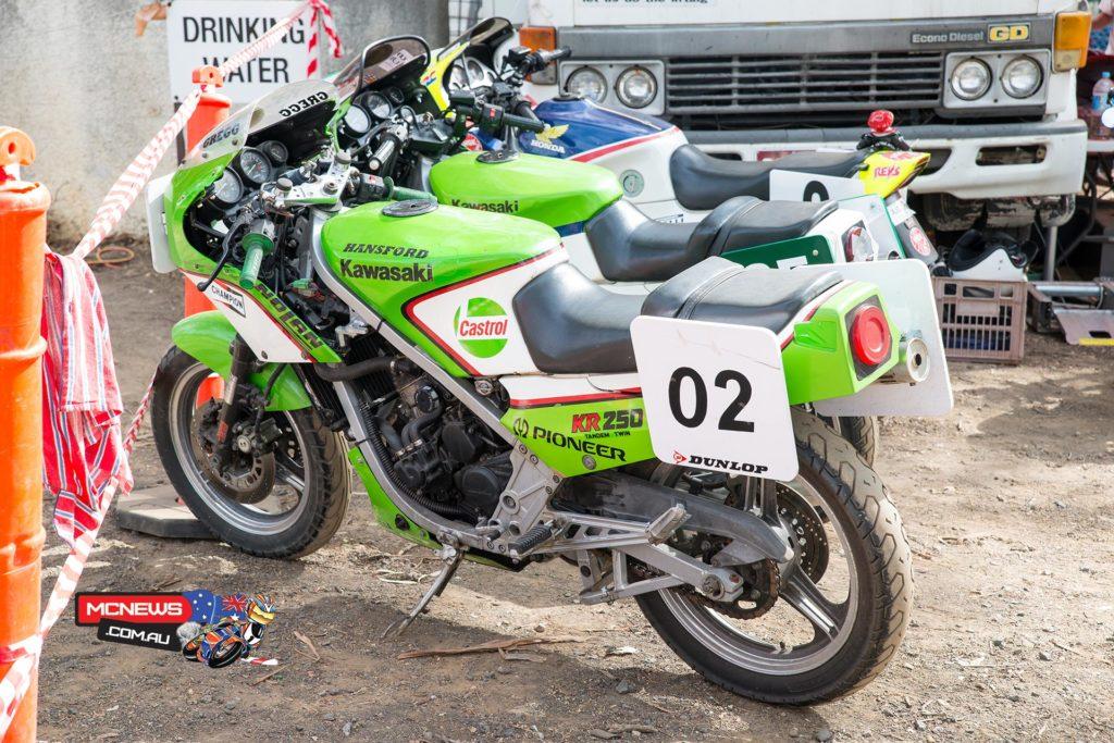 An array of Kawasaki KR250 at the 2015 Broadford Bike Bonanza