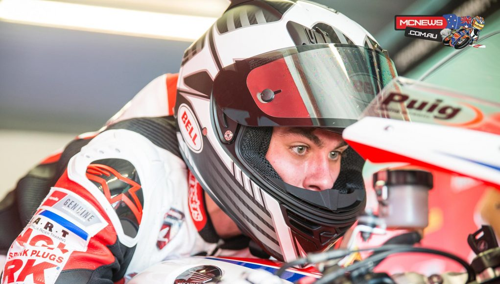 Aiden Wagner gets a feel for the Team Honda Racing CBR 1000 RR Fireblade SP