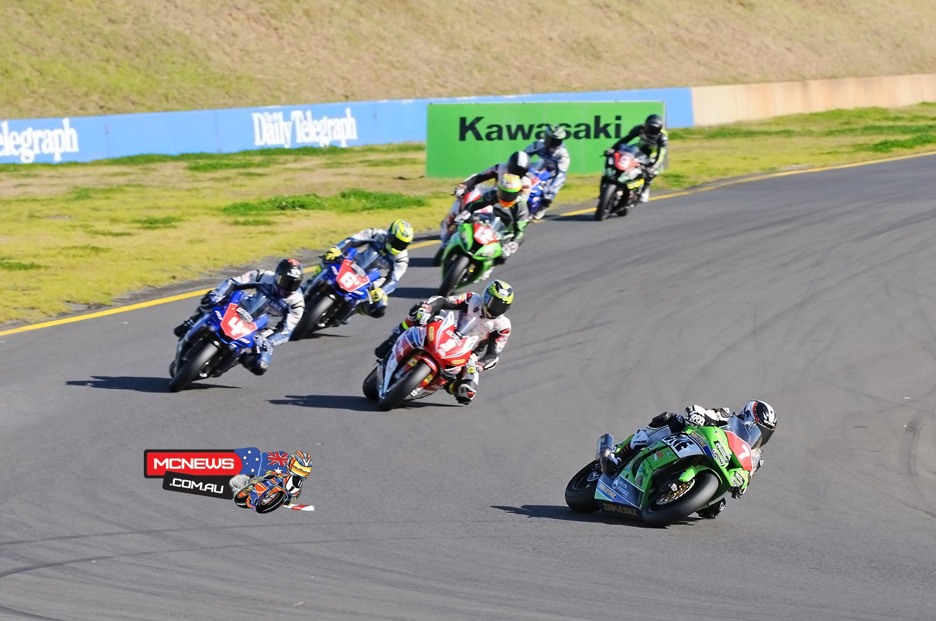 Sean Condon leads Troy Herfoss and Glenn Allerton at Sydney Motorsports Park Round Three