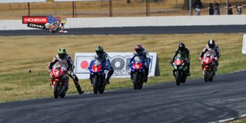 Troy Herfoss leads Wayne Maxwell and Glenn Allerton into turn one at Winton