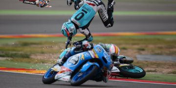 Danny Kent had a tumble at Aragon but can still clinch the Moto3 Title this weekend at Motegi