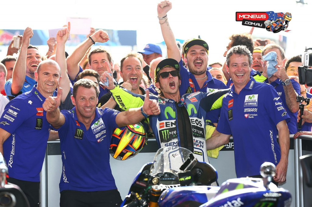 Valentino Rossi celebrates victory in Argentina MotoGP 2015