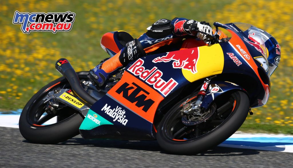 Brad Binder on his way to victory at Jerez in 2016