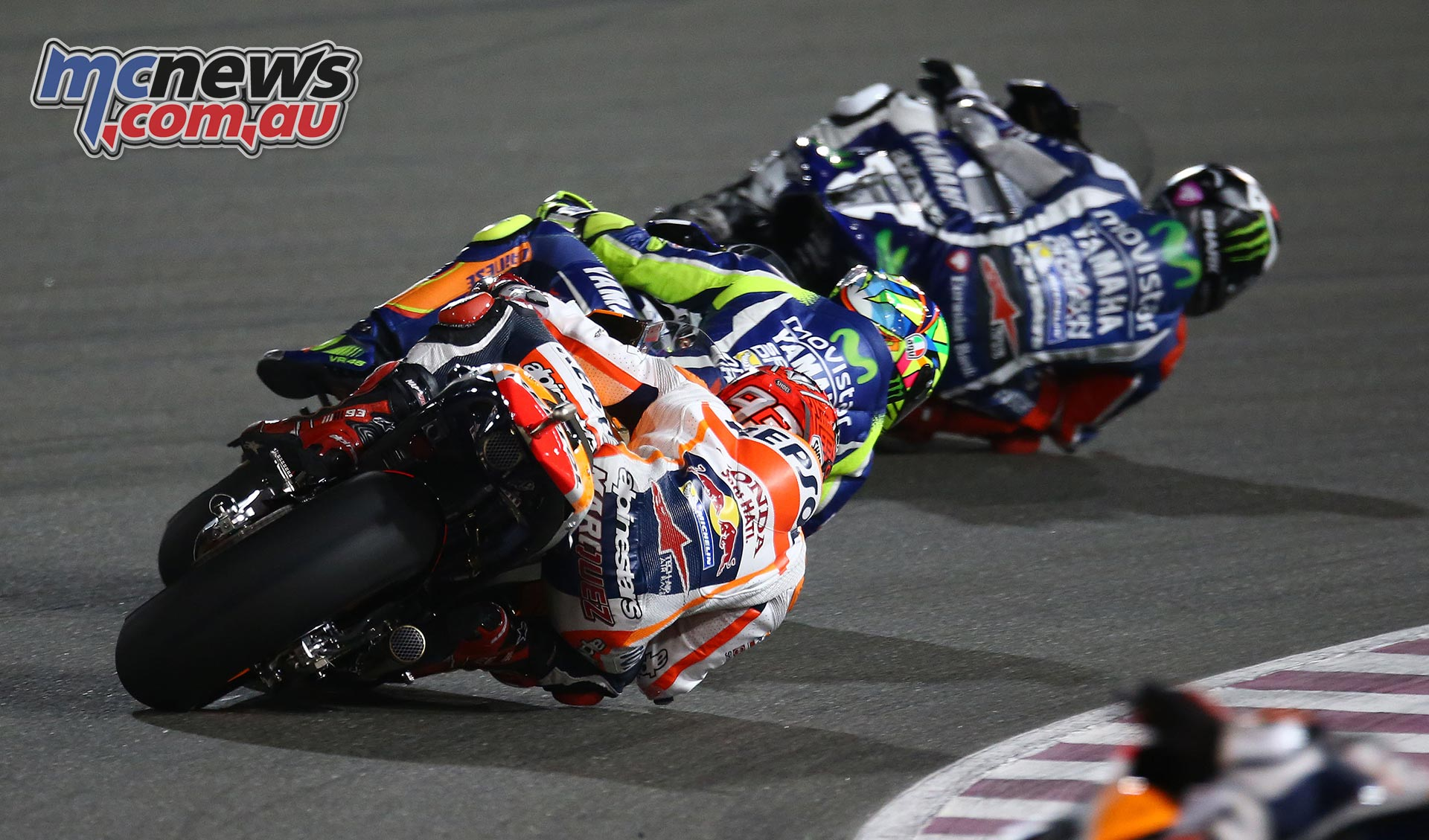Jorge Lorenzo leads Valentino Rossi and Marc Marquez in Qatar