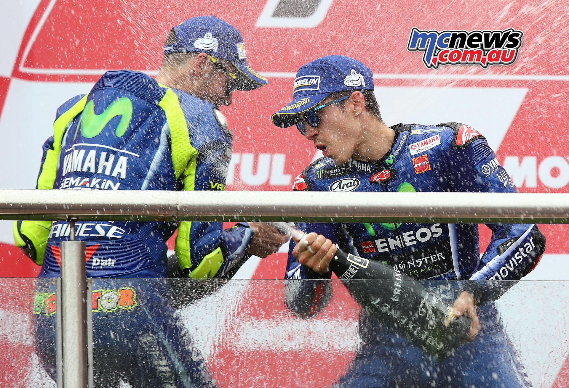 Valentino Rossi got to share some of the champagne with victor Vinales in Argentina