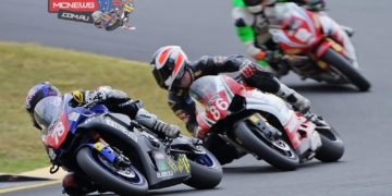 Michael Blair leads Beau Beaton and Paul Byrne at the 2016 Swann Superbike series opener