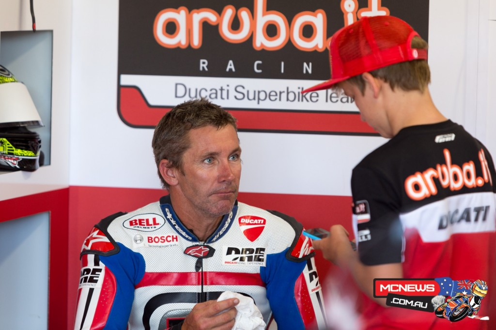 Troy with son Oli in the pits during his appearance at the 2015 WorldSBK season opener at Phillip Island