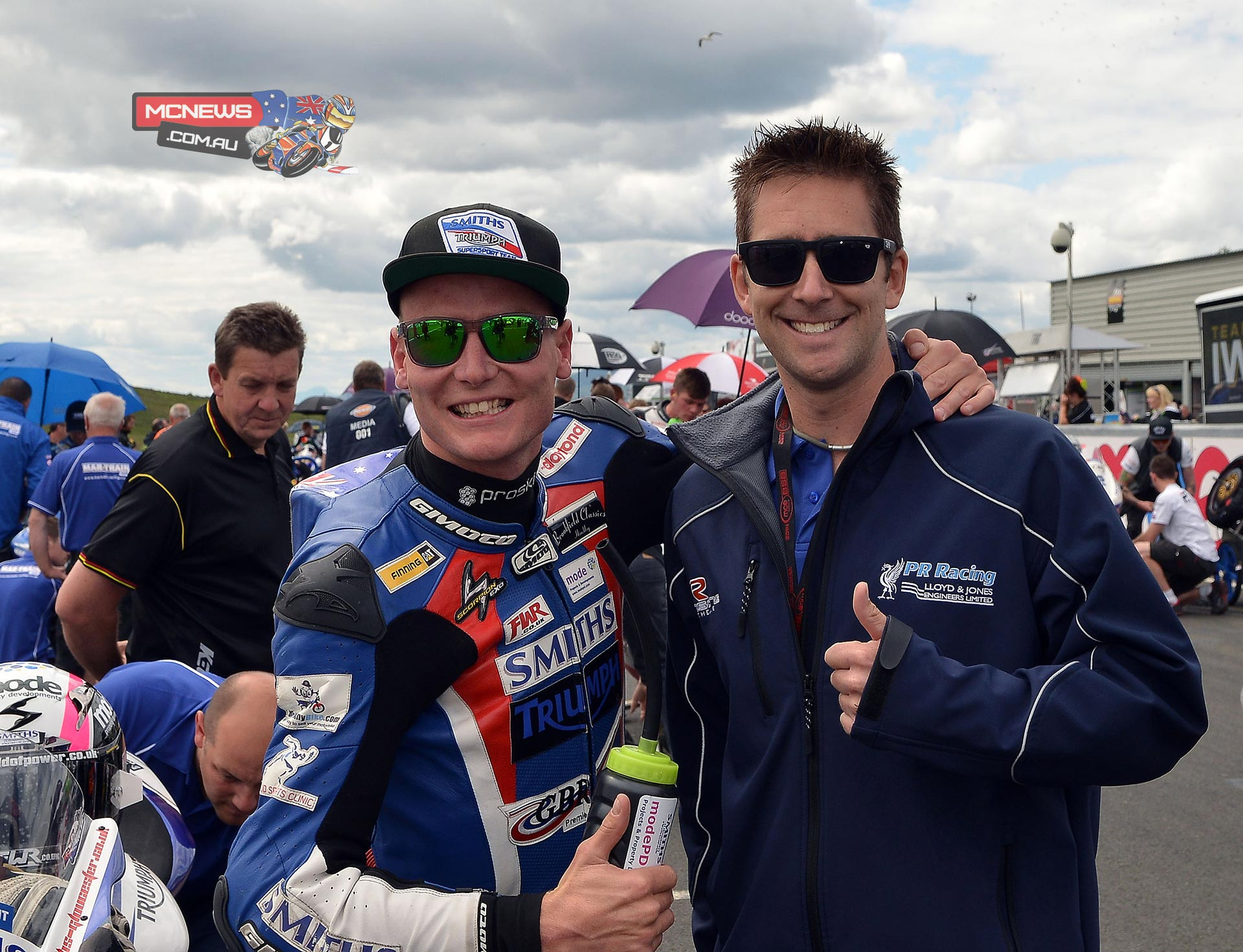 Billy McConnell with Australian compatriot David Johnson at the grid on Knockhill. Both men took podium finishes at Knockhill.